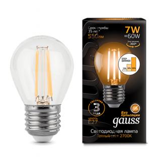 Лампа Gauss LED Filament Globe step dimmable