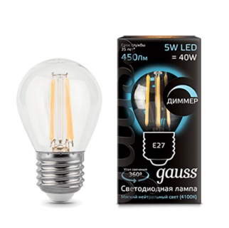 Лампа Gauss LED Filament Globe dimmable