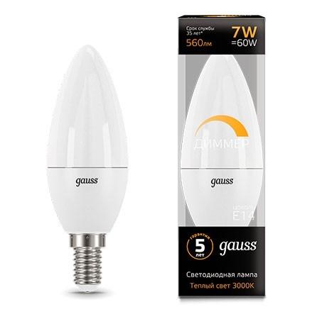 Диммируемая лампа Gauss LED CANDLE-dim
